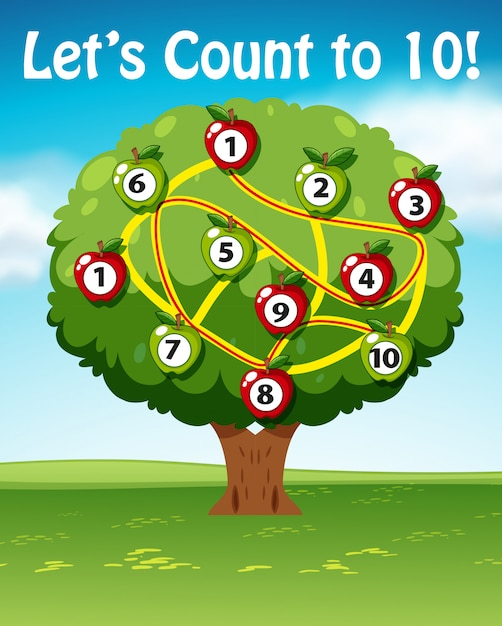Lets count to ten tree Free Vector