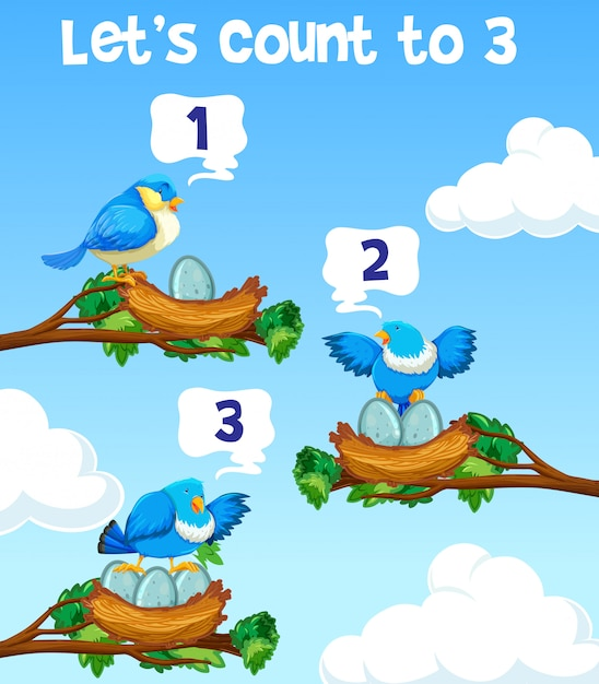 Lets count to three bird concept Free Vector