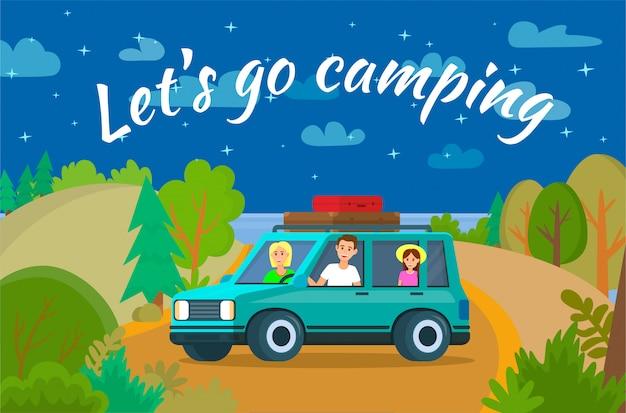 Lets go camping horizontal banner Premium Vector