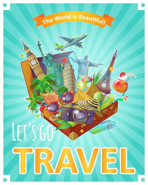 Lets go travelポスター 無料ベクター