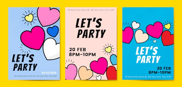 Lets party hearts background vectors Free Vector