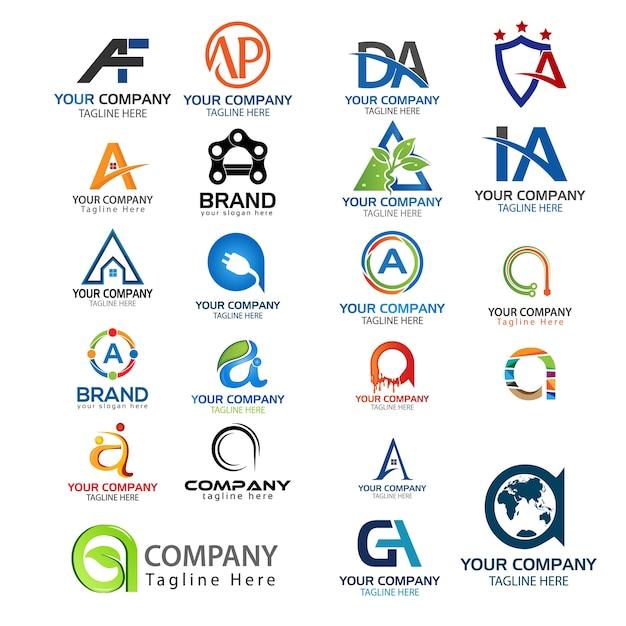 letter a logo set set of creative a letter logo vector premium