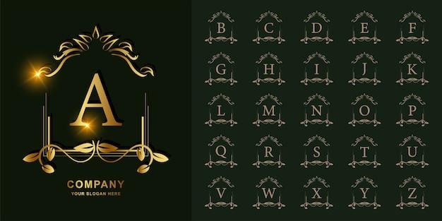 文字aまたは豪華な飾り花フレームゴールデンロゴテンプレートとコレクションの最初のアルファベット。 Premiumベクター