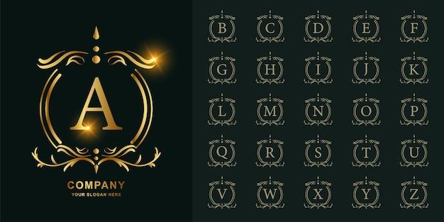 문자 A 또는 럭셔리 장식 꽃 프레임 황금 로고 템플릿 컬렉션 초기 알파벳. 프리미엄 벡터