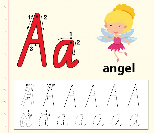 letter a tracing alphabet worksheets premium vector