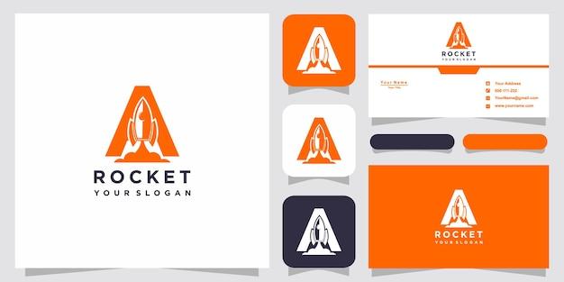 豪華な抽象的なロケットのロゴのテンプレートで文字a Premiumベクター