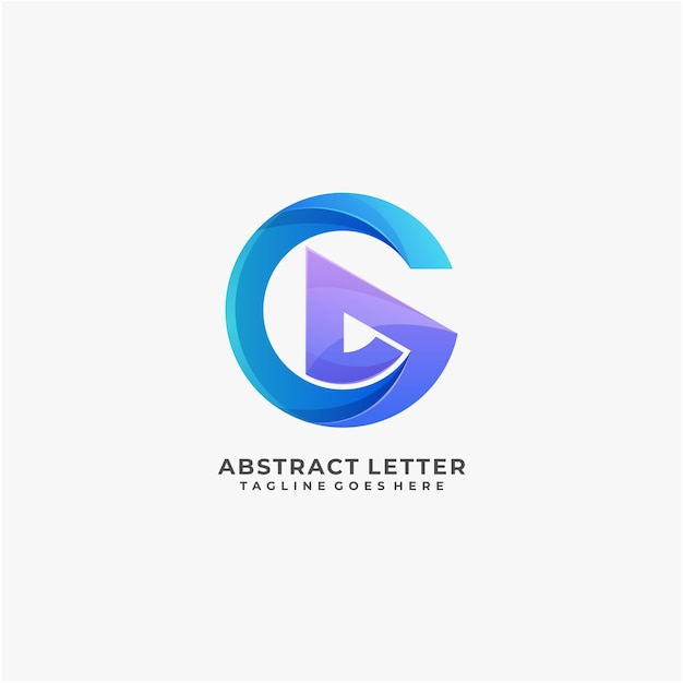 Letter abstract logo design colorful modern and digital Premium Vector