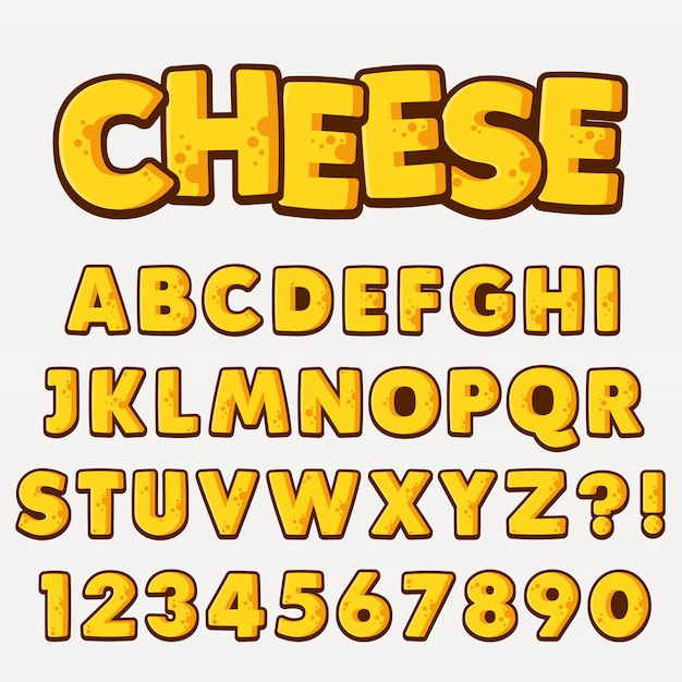 Letter alphabet with numbers cheese style Premium Vector