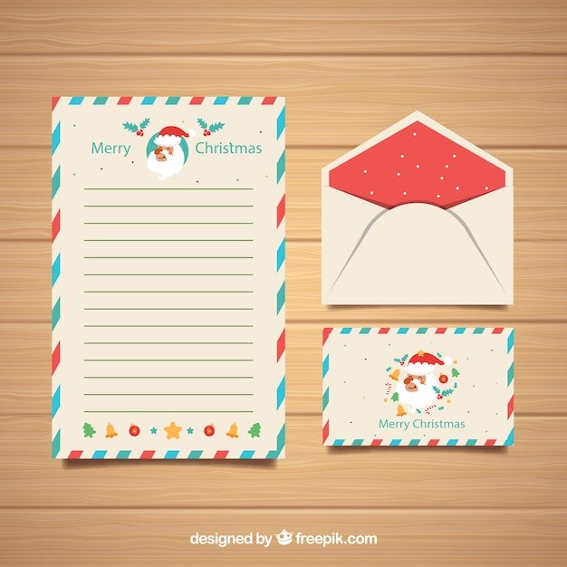 letter and envelope templates with santa claus vector free download