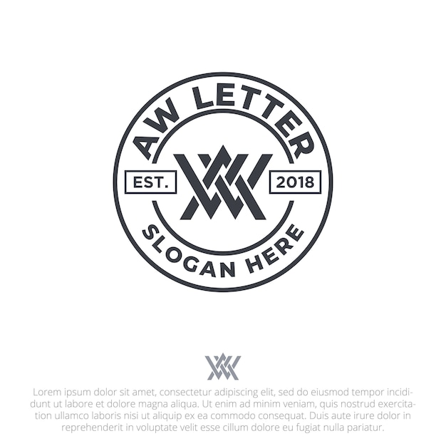 Letter aw badge logo template vector Premium Vector