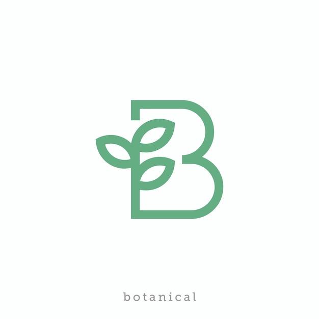 Letter b for botanical or bio logo design Premium Vector