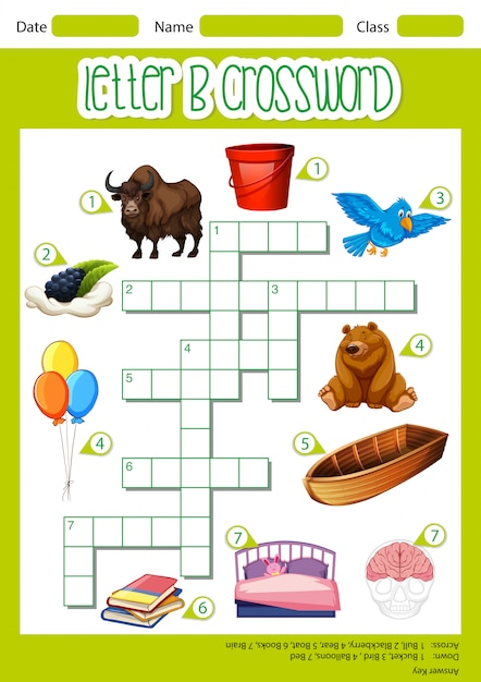 The letter b crossword Free Vector