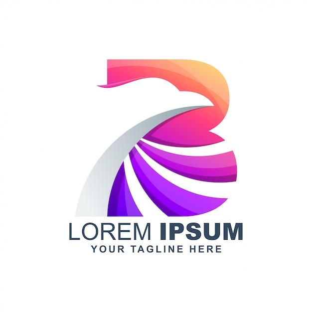 Letter b eagle modern colorful logo Premium Vector