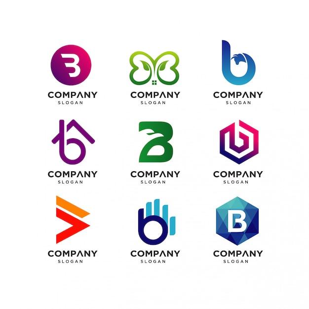 Letter b logo design templates Premium Vector