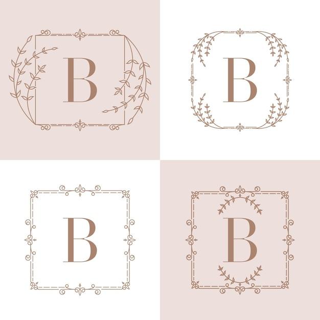 Letter b logo  with floral frame Premium Vector
