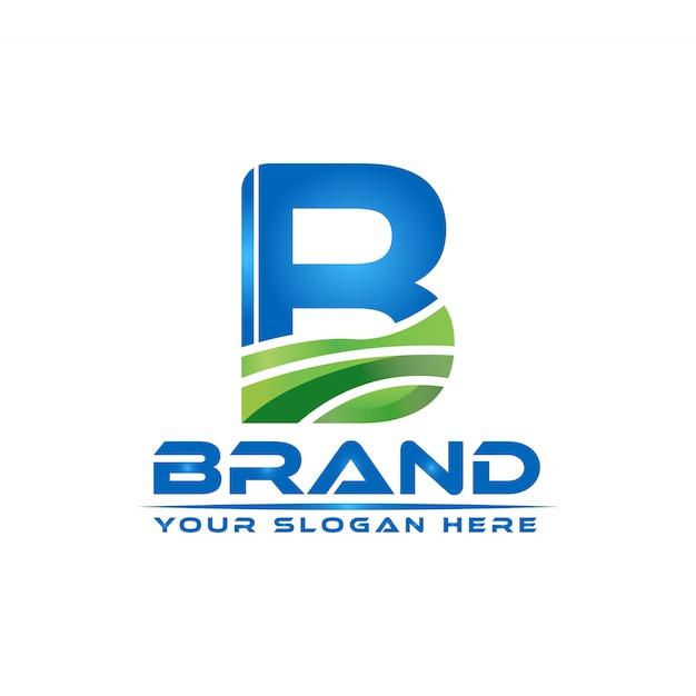 Letter b  nature logo template Premium Vector