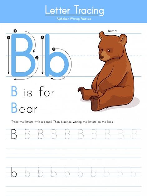 Premium Vector Letter B Tracing Animal Alphabet B For Bear
