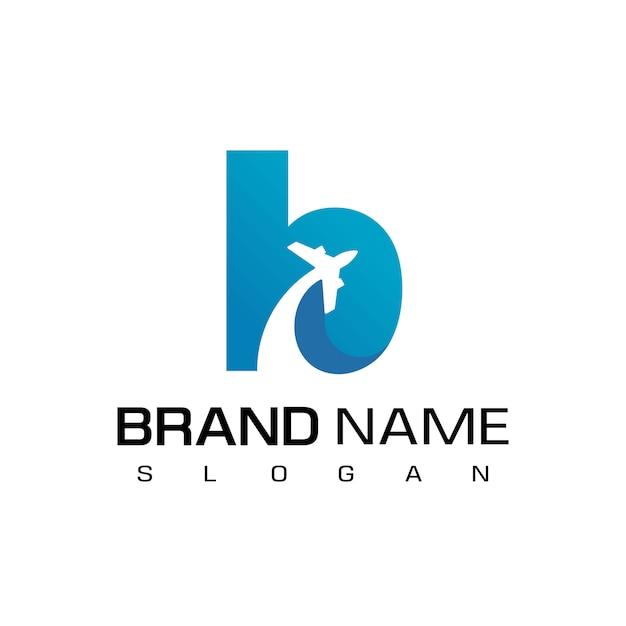 手紙b旅行ロゴ Premiumベクター