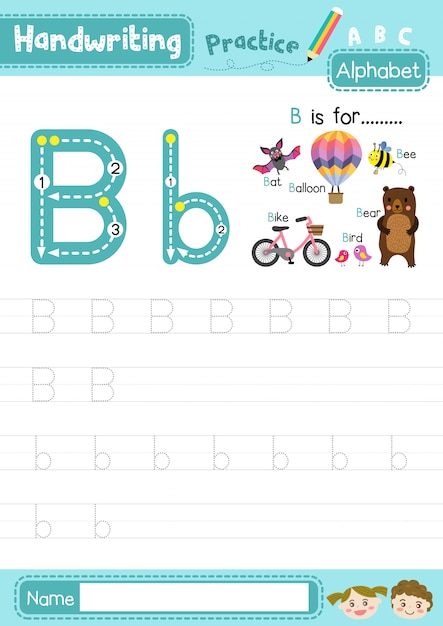 Premium Vector Letter B Uppercase And Lowercase Tracing Practice Worksheet