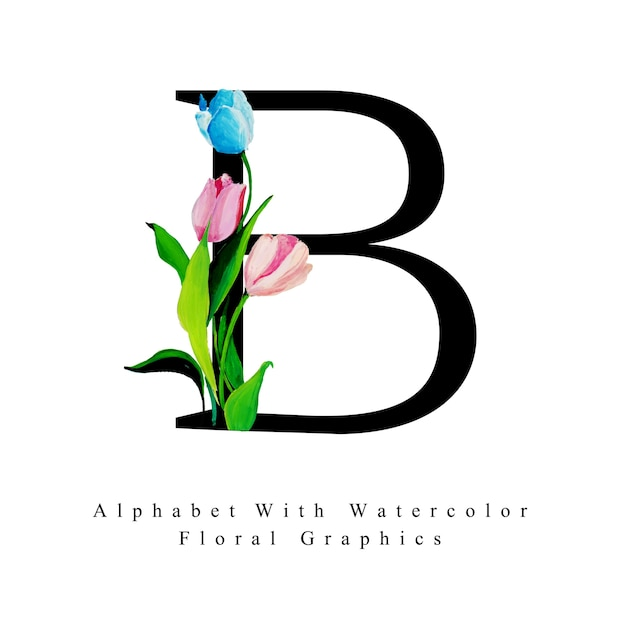 Letter B Watercolor Floral Background Vector