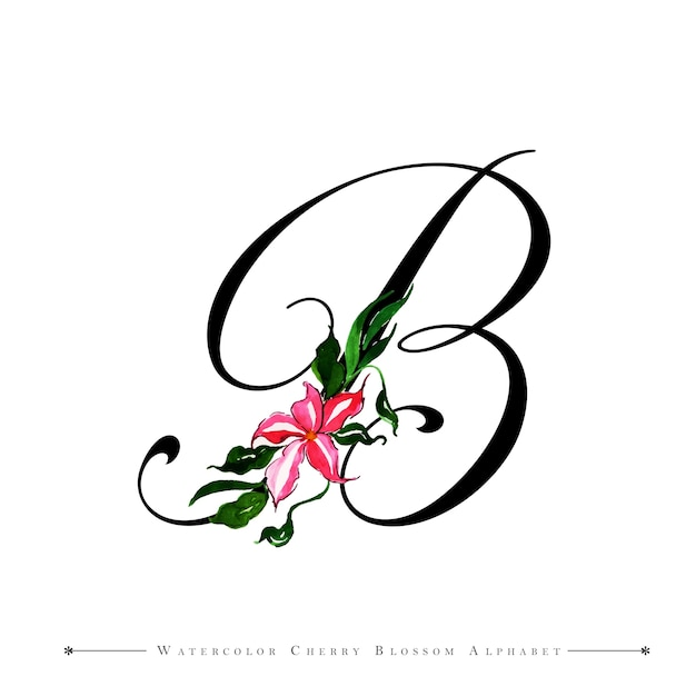 B Art: Letter B Watercolor Floral Background Vector