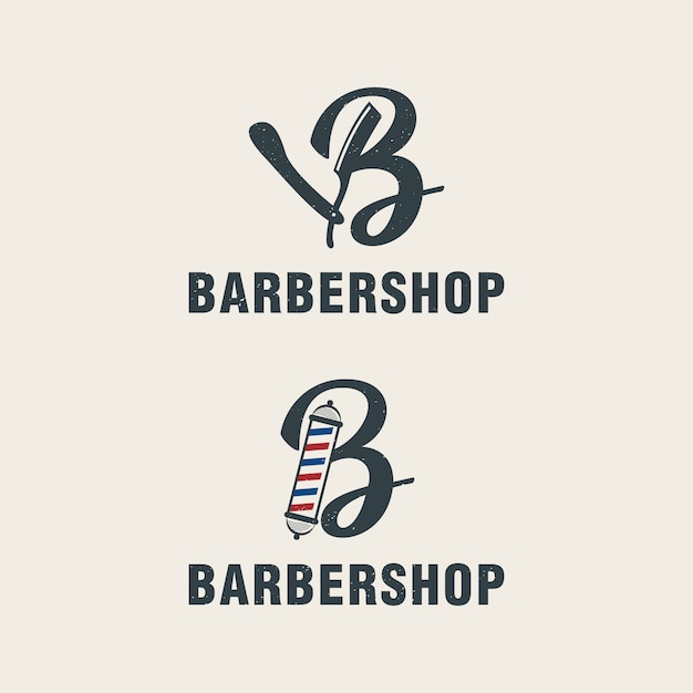 Letter b with barbershop elements logo template Premium Vector