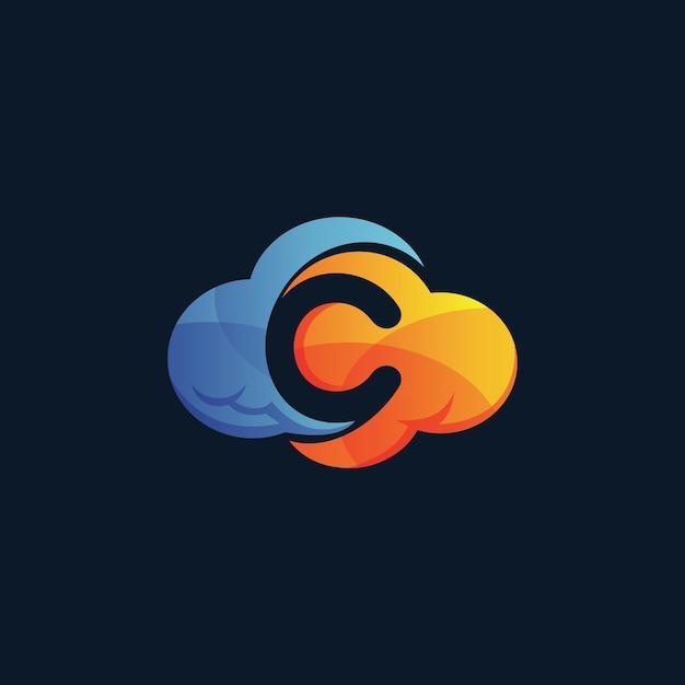 Letter c cloud logo Premium Vector