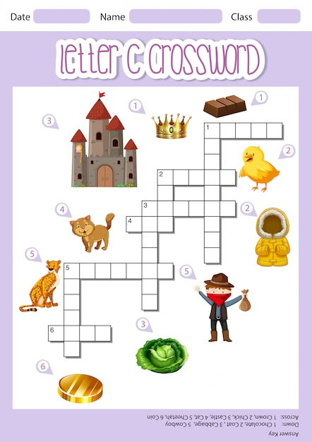 Letter c crossword template Free Vector