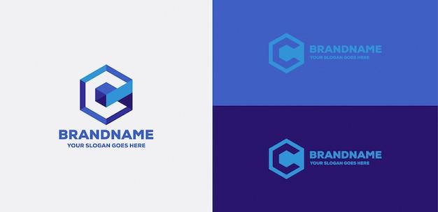 Letter c cube 3d logo Premium Vector