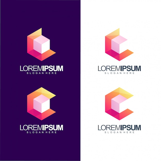Letter c cube logo illustration Premium Vector