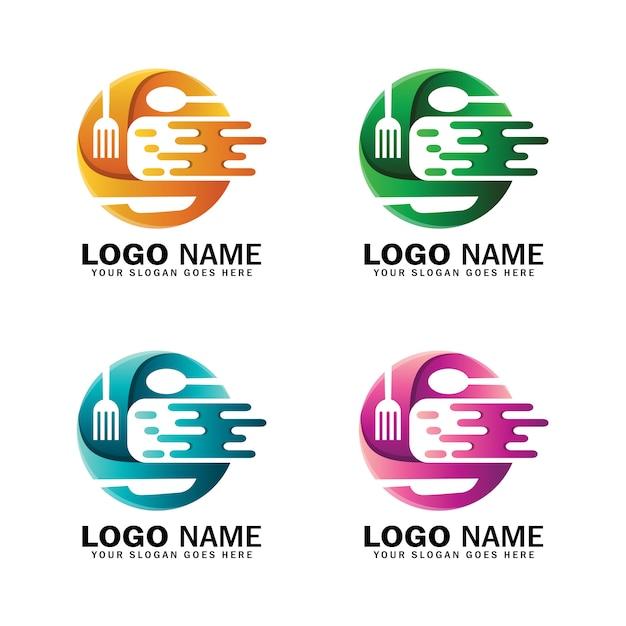 Letter c dynamic food logo template Premium Vector