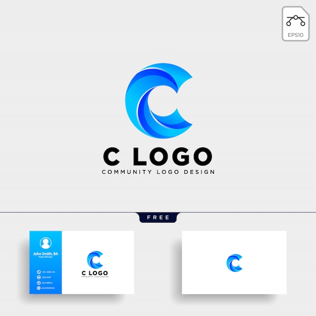 Letter c human logo template vector icon isolated Premium Vector