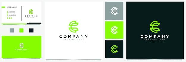 Letter c leaf logo inspiration with business card Premium Vector