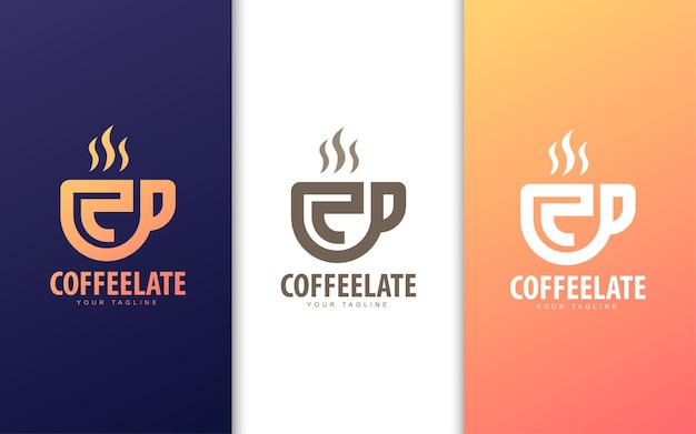 Letter c logo in coffee cup. modern coffee shop logo concept Premium Vector