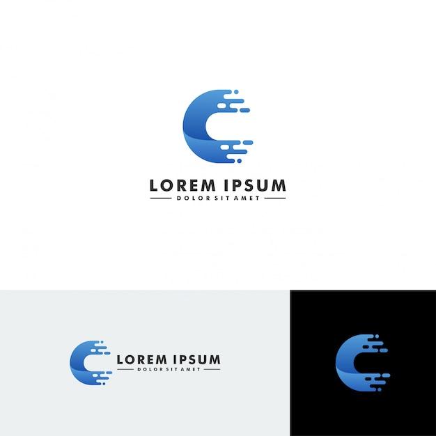Letter c logo technology icon vector Premium Vector