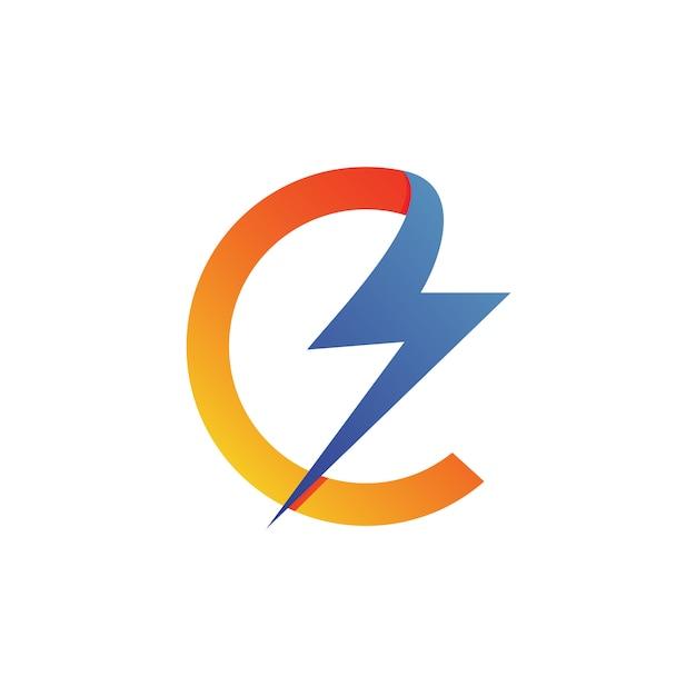 Letter c thunder logo vector Premium Vector