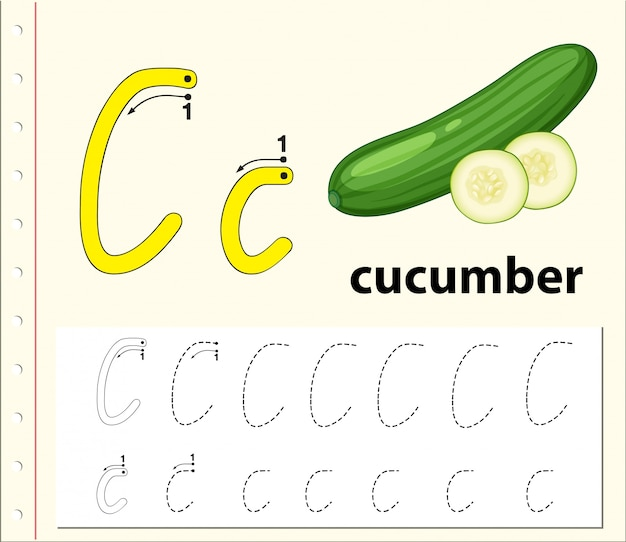 Letter c tracing alphabet worksheets Premium Vector