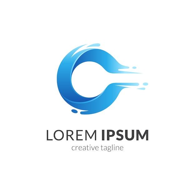 Letter c + water splash logo concept Premium Vector