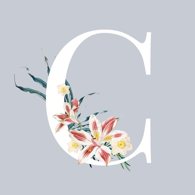 Буква c с цветами Бесплатные векторы