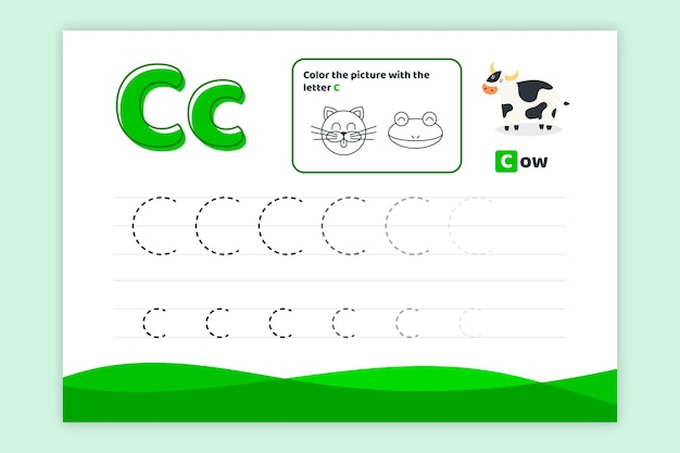 Letter c worksheet with cow Free Vector