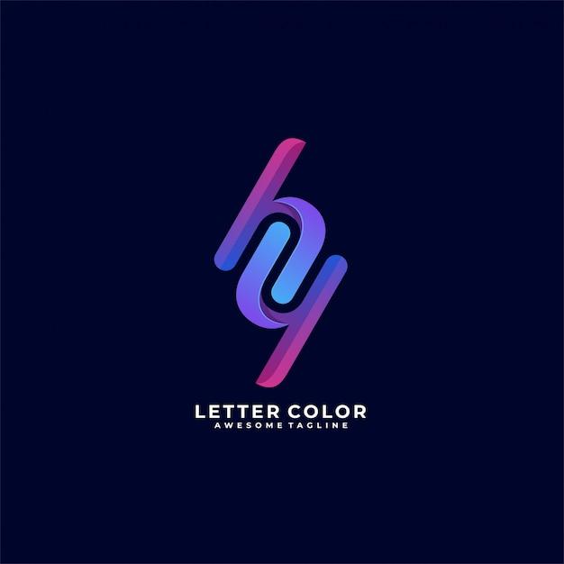 Letter color h and y illustration   logo. Premium Vector