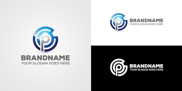 Letter cp logo business Premium Vector