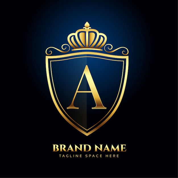 Letter a crown golden logo luxury style concept Free Vector