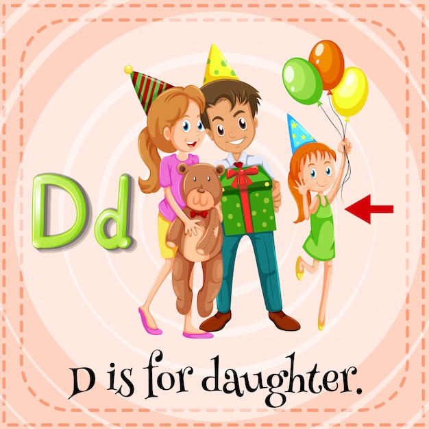 A letter d for daughter Free Vector