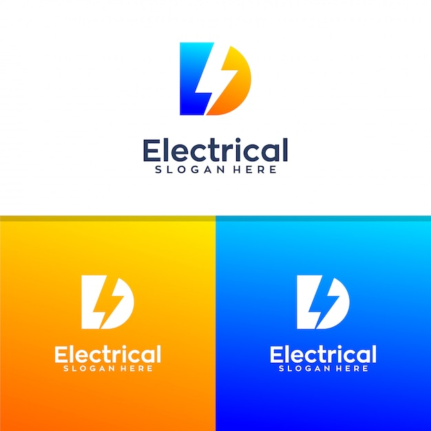 Letter d electrical logo design Premium Vector