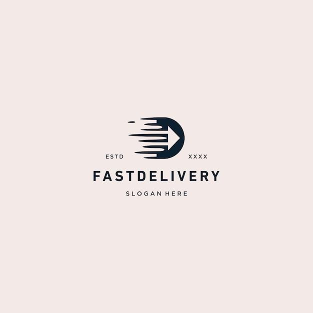 Letter d fast delivery logo Premium Vector