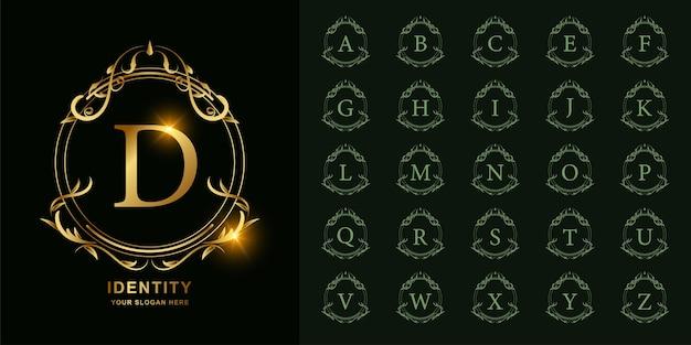 文字dまたは豪華な飾り花フレームゴールデンロゴテンプレートとコレクションの最初のアルファベット。 Premiumベクター