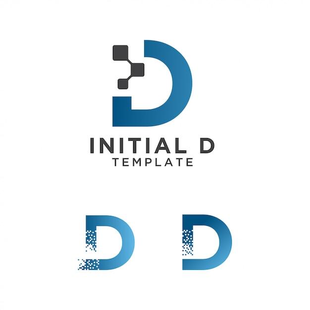 Letter d pixels logo initial design template Premium Vector