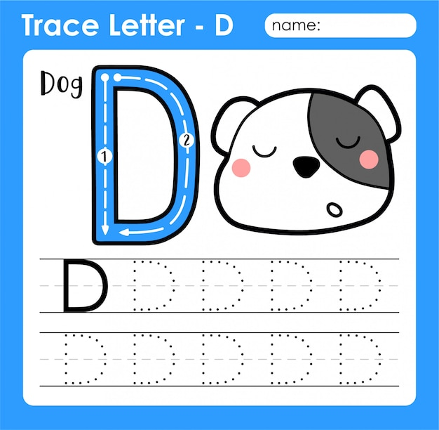 Letter d uppercase - alphabet letters tracing worksheet with dog Premium Vector