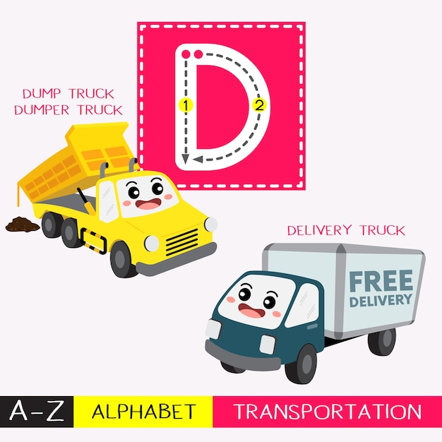 Letter d uppercase tracing transportations vocabulary Premium Vector